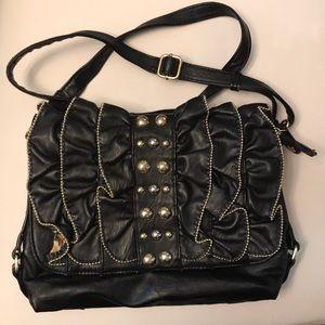 Handbags - Gold & Ruffled Embellished Leather Like Bag